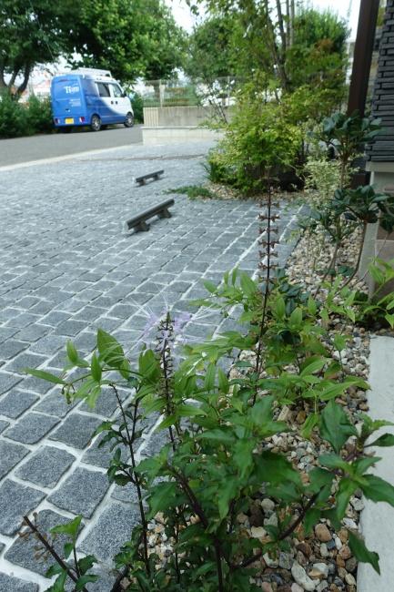 ピンコロ石貼り駐車場