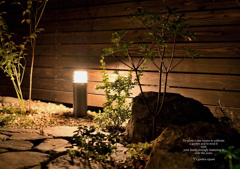 ライトアップ景石